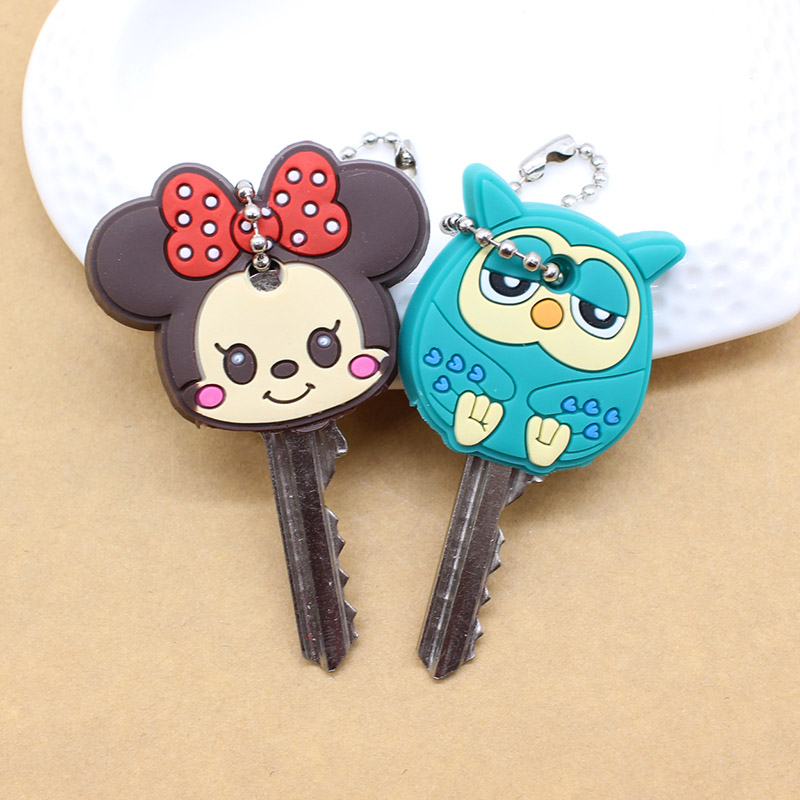 2PCS lovely Cartoon keychain Anime Cute mickey stitch Bear Silicone key cover owl porte clef cap minne key chain protect women image