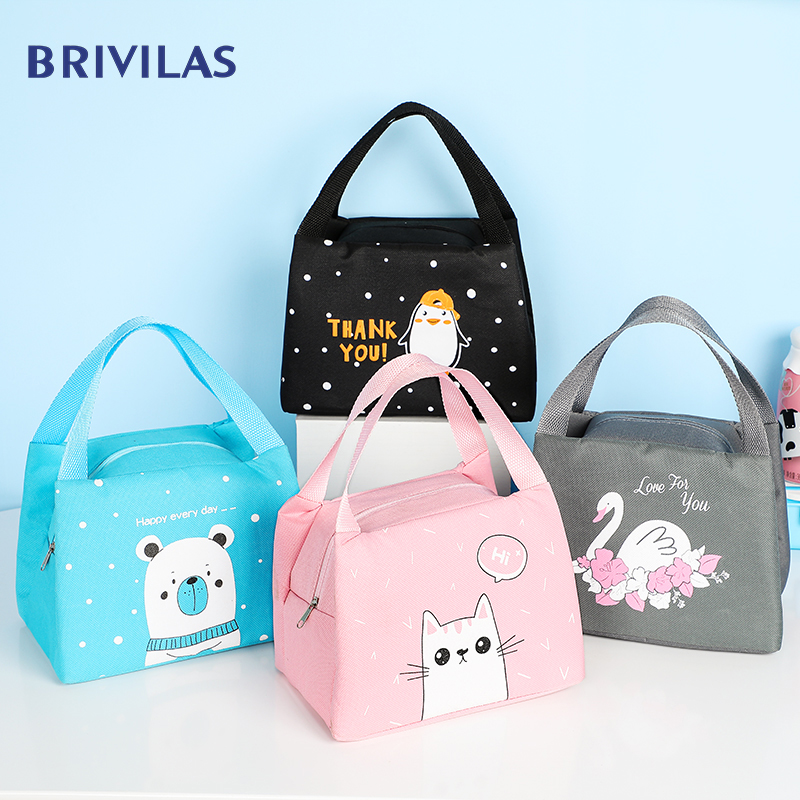 Brivilas New Cartoon Lunch Bag For Women Cute Penguin Girl Hand Cooler Bags Portable Thermal School Breakfast Picnic Food Box