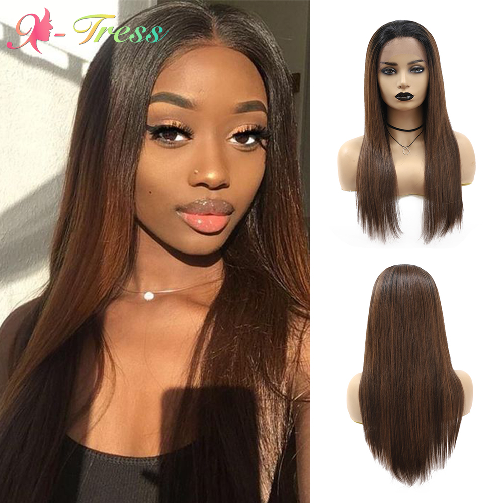X-TRESS Lace Front Wig Ombre Brown Long Straight Synthetic Wigs for Black Women Free Part Lace Wig with Baby Hair Heat Resistant
