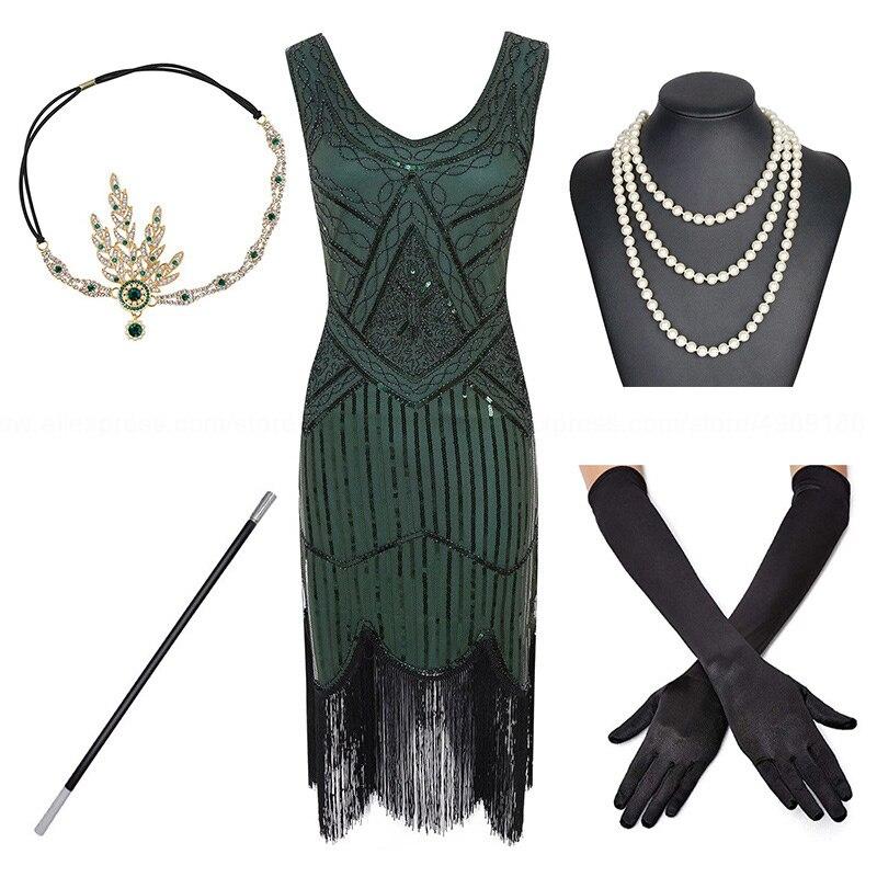 1920s Plus Größe Gatsby Pailletten Fransen Kleid Paisley Art Deco Flapper Sleeve Kleid mit 20s Zubehör Set xs, s, l, m, xl, xxl