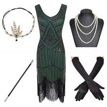 בתוספת גודל 1920s גטסבי נצנצים מצויץ פייזלי אמנות דקו המפלגה שרוול שמלה עם 20s אביזרי סט לwommen S,L,XL,XXL,3XL,4XL