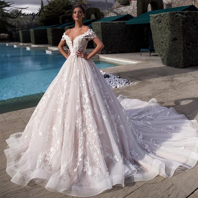 Traugel Off The Shoulder A Line Lace Wedding Dresses Elegant Appliques Lace Up Bride Dress Cathedral Train Bridal Gown Plus Size 1