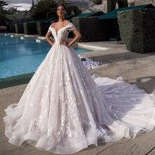 Traugel Off The Shoulder linia koronkowe suknie ślubne eleganckie aplikacje zasznurować suknia dla panny młodej katedra pociąg suknia ślubna Plus rozmiar