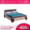 Кровать Санремо КР 001 (Ателье темное, ЛДСП, Дуб сонома светлый, 1600х2000 мм) МК Стиль