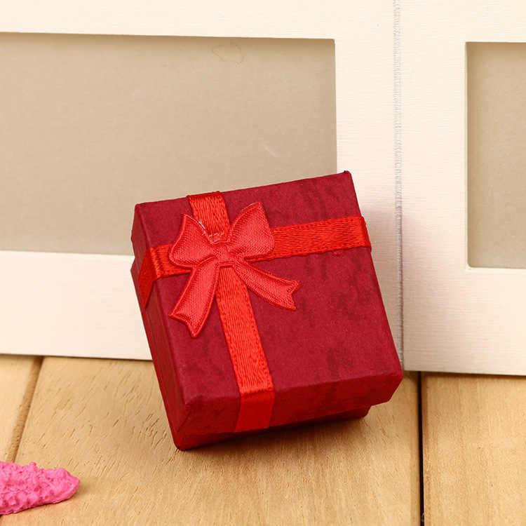 1 ud. 4*4cm de papel de alta calidad anillo de lazo cuadrado joyería pendiente collar caja de regalo caja de exhibición