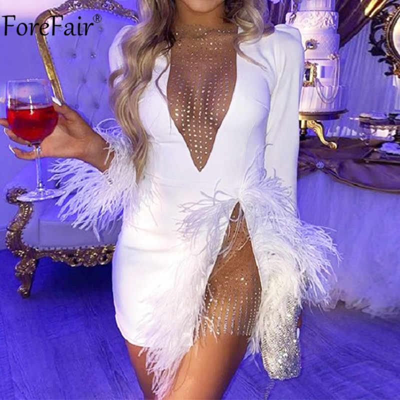 Forefair V צוואר נוצת יהלומים סקסי שמלה לבן שחור נשים ארוך שרוול סתיו חורף מועדון לראות דרך מיני מפלגת שמלות