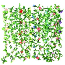 Wisteria Summer White Flowers Green Leaves Vine Garland Silk Vine Artificial Hanging Plants Home Wall Decor Wedding Arch 2.4M garland flowers wedding decoration artificial hydrangea vine party plastic flowers wall decor rattan silk flower wisteria wreath