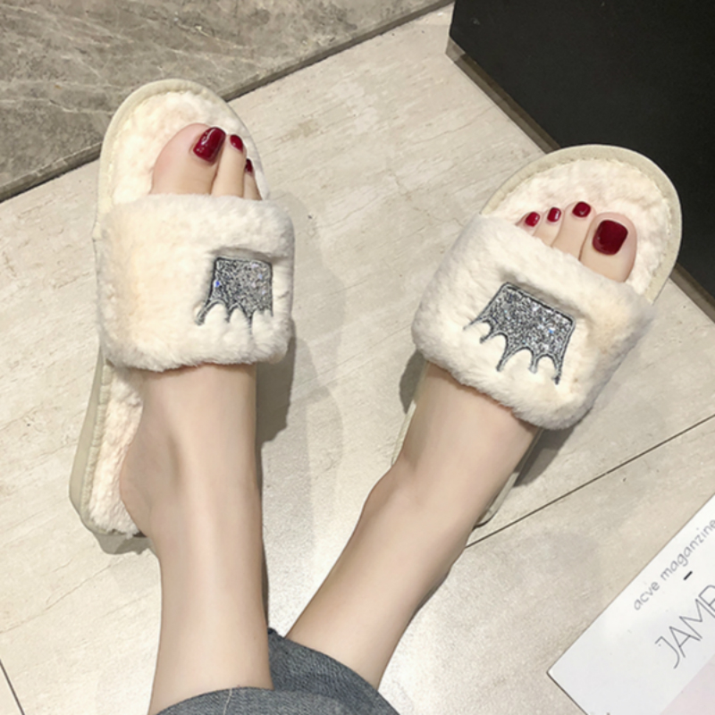 Women Slippers 2019 Womens Fur slides Winter Shoes Big Size Home Slipper Plush Pantufa Women Indoor Warm Fluffy Cotton Shoes on AliExpress