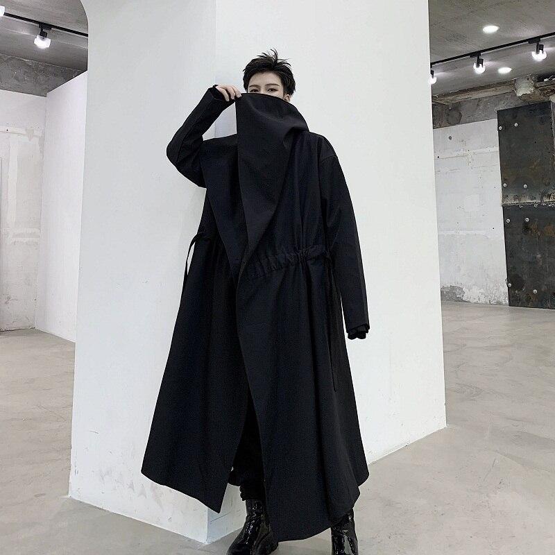 Men Big Collar Trench Coat Outerwear Japan Streetwear Dark Black Hip Hop Gothic Male Long Cardigan Jacket Windbreaker Overcoat