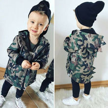 Toddler Baby Girls Boys Camo Hoodies Jacket Outwear Tracksuit Hooded Coat Cathery Camo Dinosaur Zipper Coat недорого