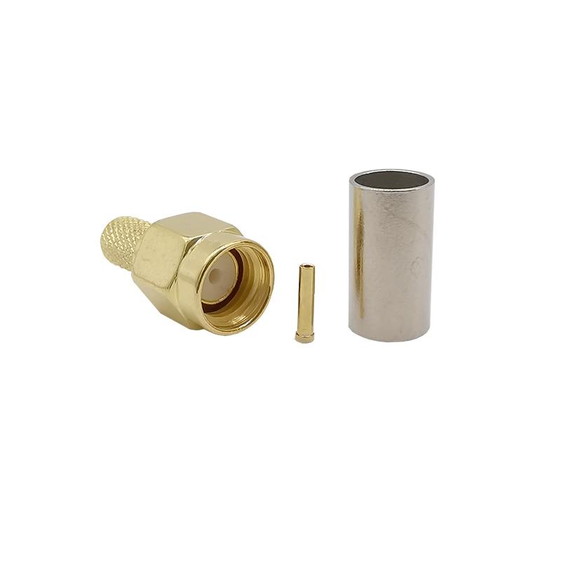 SMA male plug right angle crimp for RG58 LMR195 RG400 RG142 RF Connector
