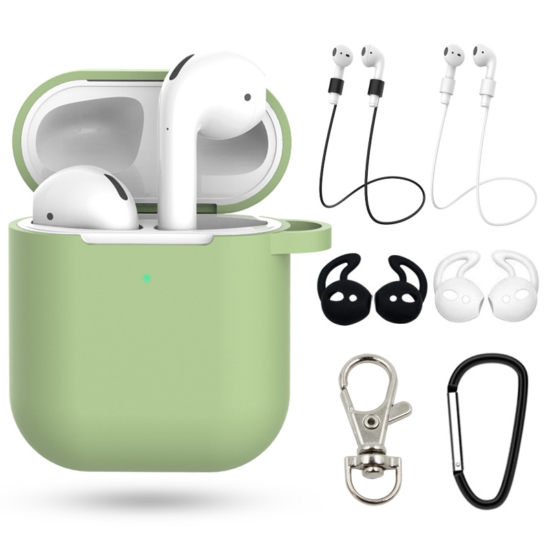 7Pcs/Set  Perfect Suits  Case For Airpods 2 Earphone Correa Case For Apple Air Pods  Silicone Cover  Accessories With Hook