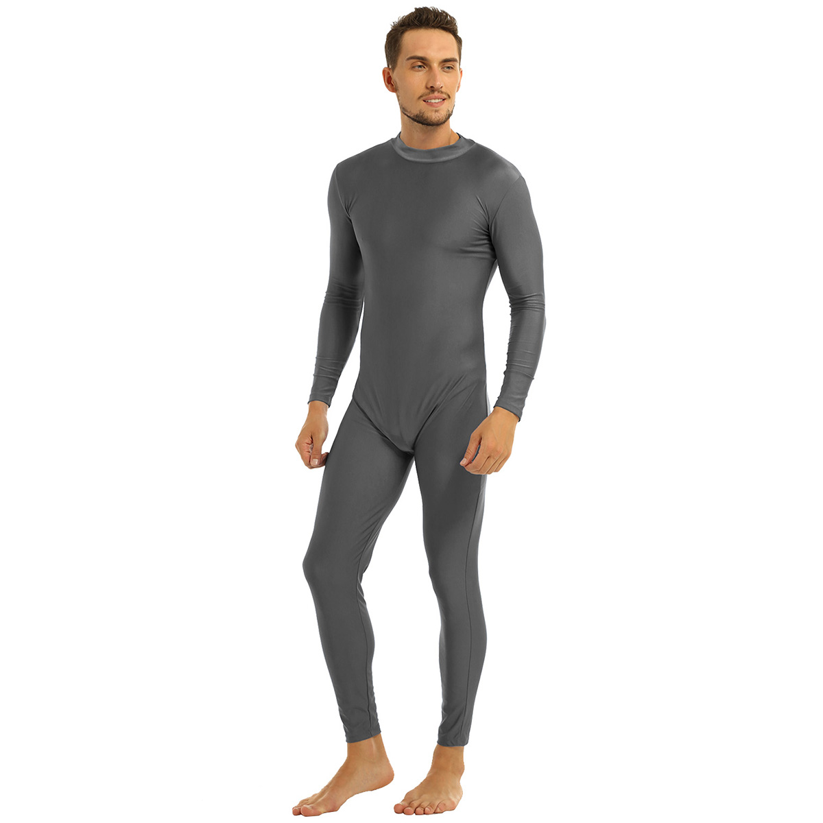 Mens Well Fit One Piece Leotards Long Sleeves Skinny Full-body Catsuit Adult Lycra Dancewear Bodysuit Gymnastics Workout Unitard 30