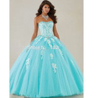 Turquoise 2019 Quinceanera Dresses Ball Gown Sweetheart Tulle Appliques Beaded Crystals Cheap Sweet 16 Dresses
