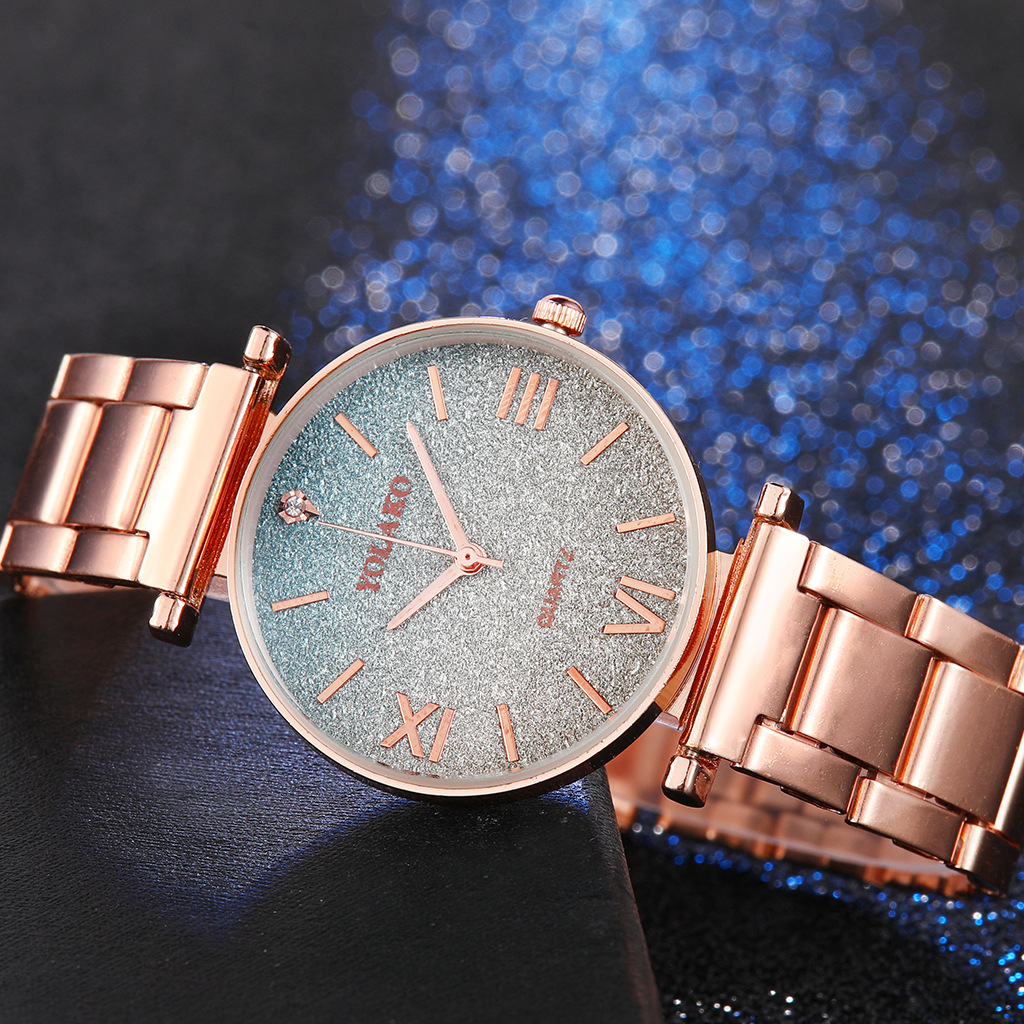 Simple/Luxury Style Watches Stainless Steel Women 39 S Dresses Watch Star Gradual Color Lady's Fashion Quartz Leisure WristWatch