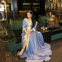 Chiffon Muslim Evening Dress Long Sleeve Gold Appliques Plus Size Moroccan Kaftan Arabic Islamic Special Occasion Gown