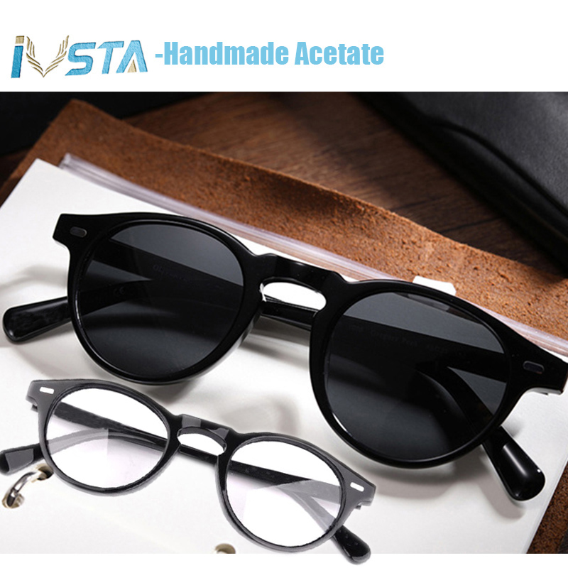 Image 2 - IVSTA OV 5186 with logo Gregory Peck Acetate Glasses Women Round Polarized Sunglasses Brand Designer with Box Myopia Optical-in Men's Eyewear Frames from Apparel Accessories