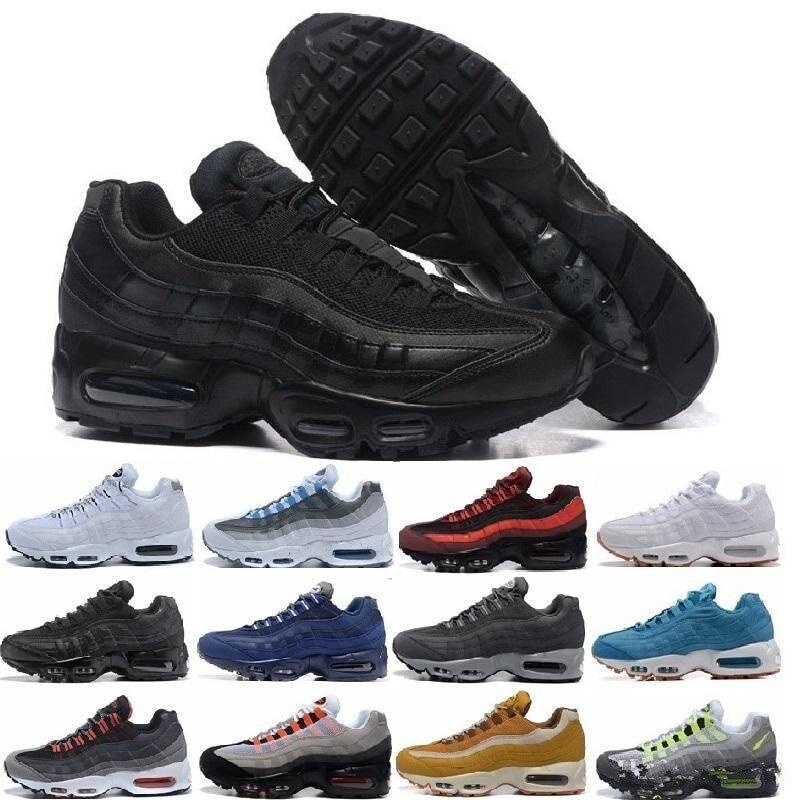 Nuevo ob Air Max 95 cojín de la Marina deporte de alta calidad Chaussure 95s botas de caminar hombres zapatos casuales zapatillas de deporte de las mujeres DB12911 zapatos deportivos blancos de primavera para bebé de David Bella zapatos sólidos casuales de niño recién nacido
