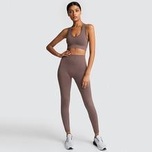 Seamless Gym Set Nylon Leggings Sport Women Fitness 2 Pcs Yoga Workout Training Sports Bras Suits