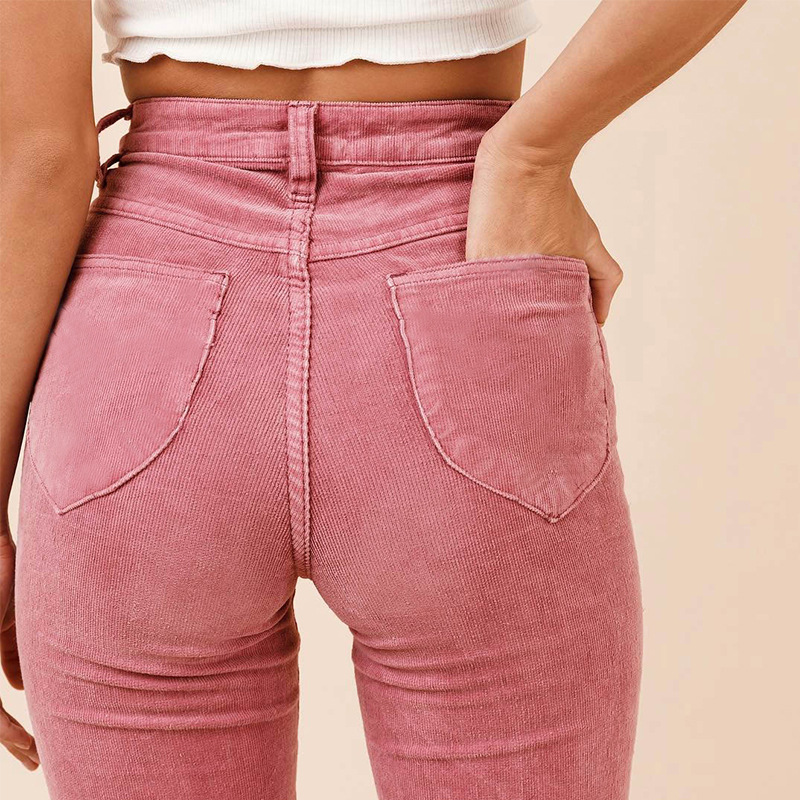 Women Autumn Solid Corduroy Flared Jeans Ladies Casual High Waist Denim Pants Girls Colorful Full Lenghth Front Zipper Fly Jeans