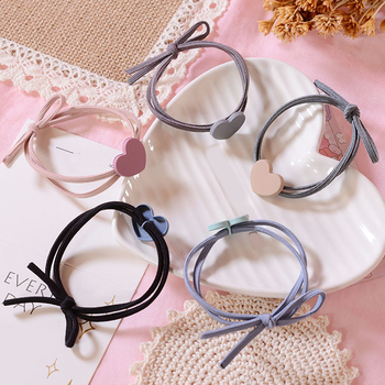 4 Colors Elastic Heart Shape Cassic Simple For Women Hair Band Kid Children Rubber Band High Elasticity image
