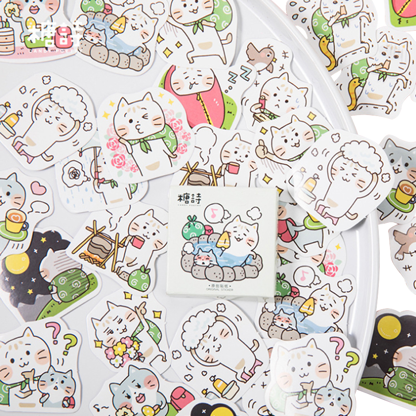 45pcs/box Cat Travel Kawaii Diary Decoration Stickers DIY Adhesive Scarpbooking Sealing Label Sticker Children Stationery