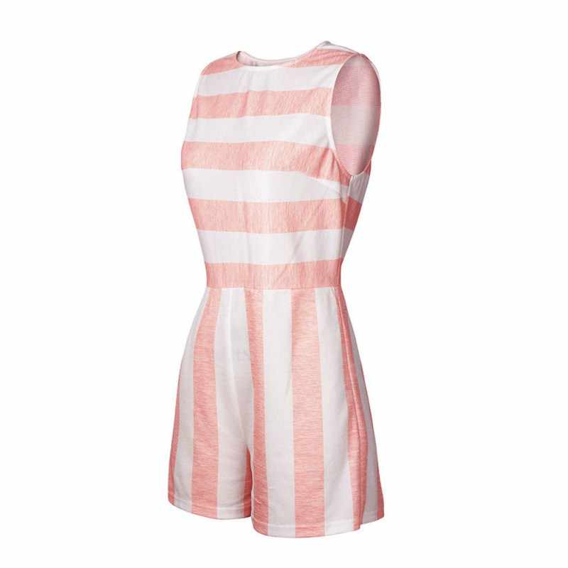 Женская мода Boho полоса o-образным вырезом Женская повседневная майка и шорты полосатый комбинированный купальник Комбинезоны женские Комбинезоны для женщин боди