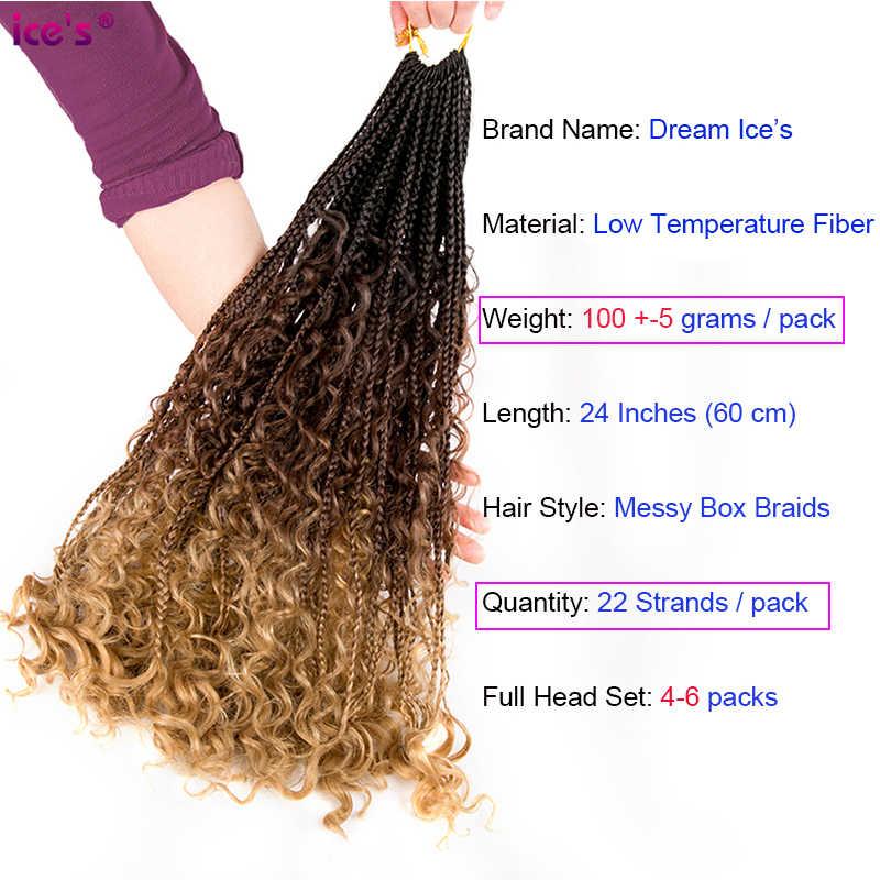 Bohemian Doos Vlechten Haar Boho Vlechten Ombre Synthetische Krullend Gehaakte Vlechten Haarverlenging Rommelig Godin Zwart Bruin Haar
