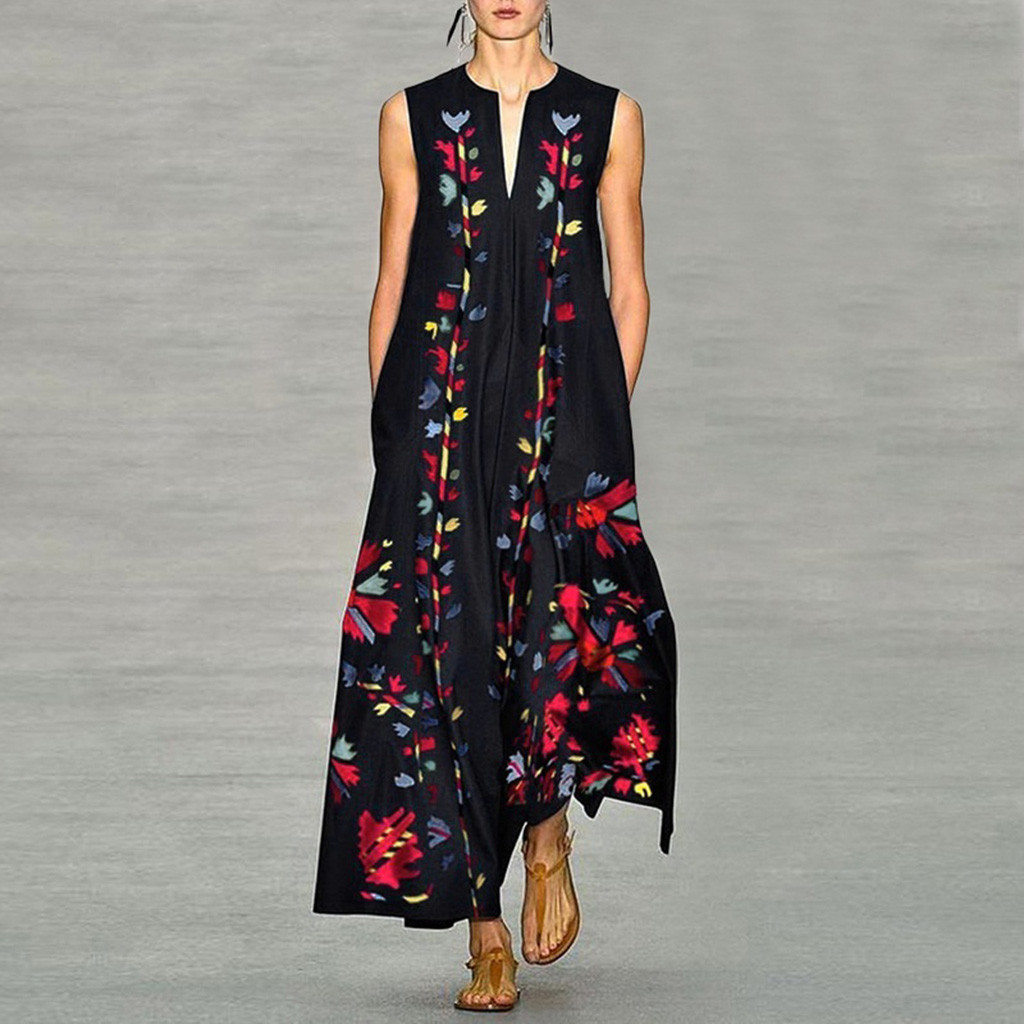 Women Plus Size Vintage dress Daily Casual Sleeveless wrap dresses Printed Floral V Neck Maxi Dress