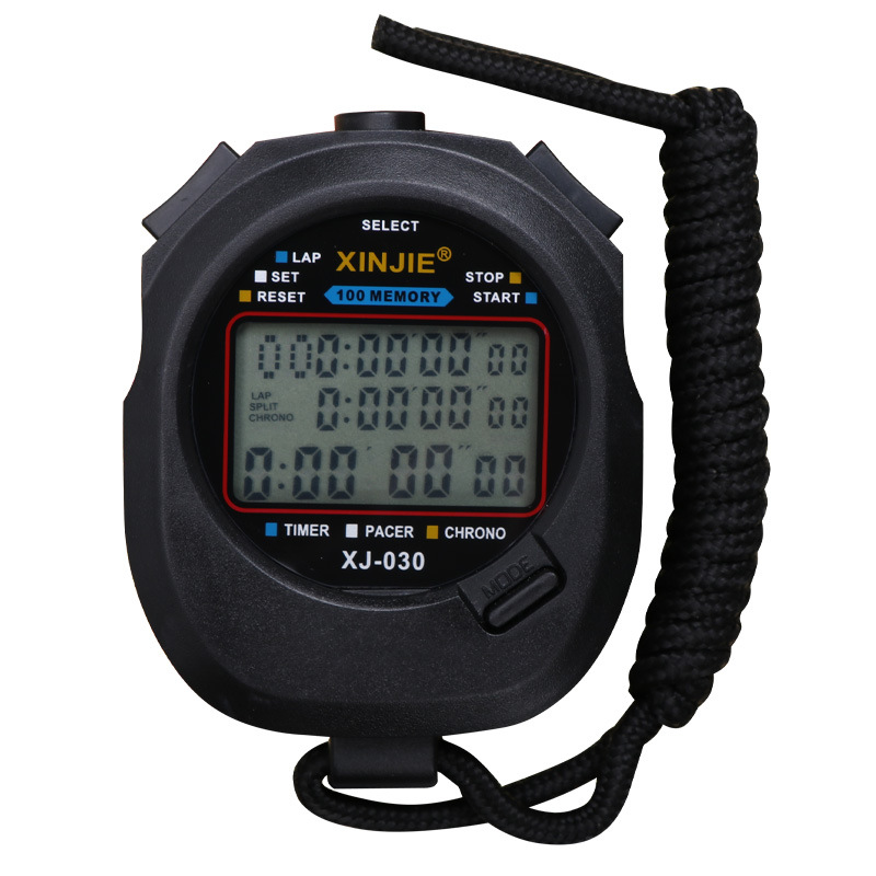 Stopwatch Referee Track And Double Three Row 100 Road Timer Game Students Running Training Sports Fitness Electronic Watch