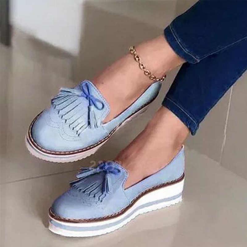 Kadın loafer'lar 2020 püskül bayanlar ayakkabı üzerinde kayma dikiş yumuşak PU deri daireler kadın platformu kalın alt yaz kadın ayakkabı