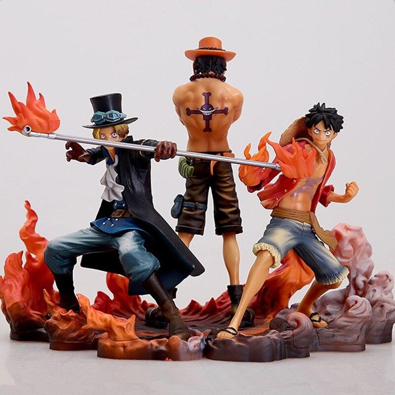 3 uds. One Piece de figuras de, mono D Luffy como Sabo Three brothers, colección de figuras de acción en PVC, modelos de 14-17CM