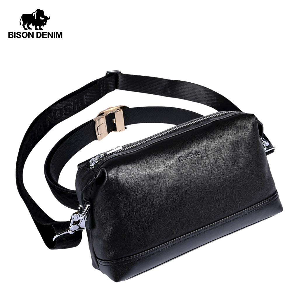 Coffee BISON DENIM Mens Leather Shoulder Bag Genuine Leather Small Crossbody Purse Travel Small Messenger Bag