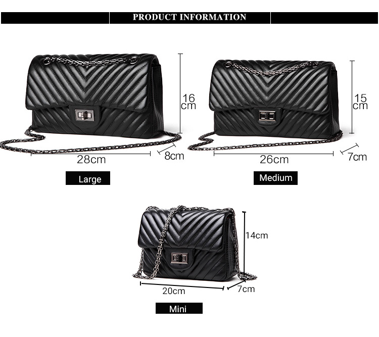2019 Fashion Quilted Leather Chain Handbag Womens Luxury Shoulder Bags Branded Famous Black Double Flap Crossbody Bag for Women (11)