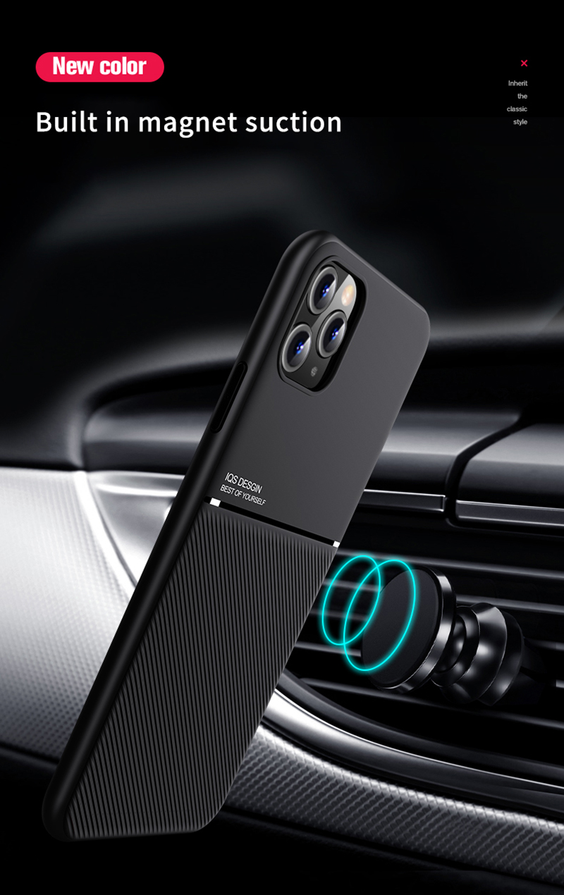 Soft Silicone Car Magnetic Holder Ultra thin Leather IQS Design Case For iPhone 12 Pro Max