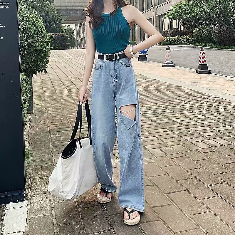Jeans Women Spring Autumn Korean Style Light Blue Loose Fit With Holes High Waisted Casual Jeans Free Shipping 2020 Women Jeans