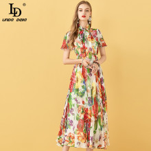 LD LINDA DELLA Summer Chiffon Dress Women Fashion Designer B