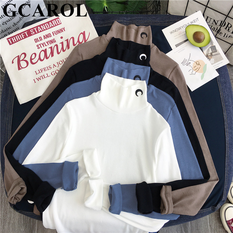 GCAROL 2020 Early Spring Women Half Collar Applique Shirt Stretch Basic Tops Shirt Slim Fit OL Render Unlined Upper Garment
