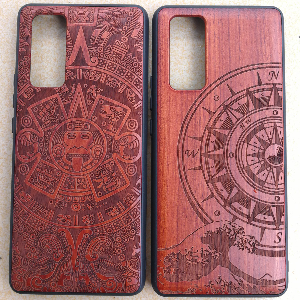 3D Carved Wood Cartoon Bear Case For Huawei Honor 30 Pro Pro+ Plus Dragon Lion Wolf Tiger Tree wooden carve Cover(China)