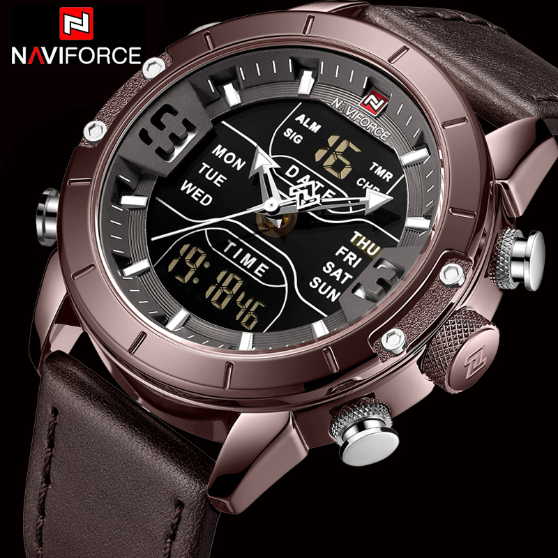 NAVIFORCE Mens Watches Top Brand Luxury Army Military Leather Wristwatch Waterproof Digital Quartz Sports Relogio