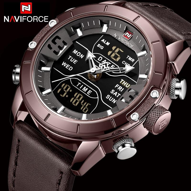 NAVIFORCE hommes montres Top marque de luxe armée militaire en cuir hommes montre-bracelet étanche numérique Quartz sport montres Relogio