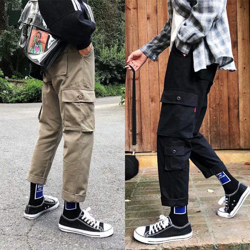 Autumn INS Popular Brand Loose Casual Pants Korean-style Trend Capri Bib Overall Straight-Cut Teenager Fashion Man