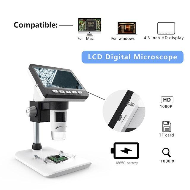 """1080P 1000X 4.3 """"8 Led Microscope Portable Bureau Numérique Microscope Électronique Avec Batterie au Lithium"""