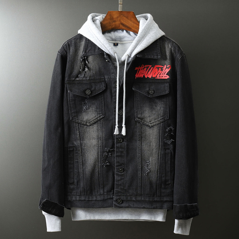 Fashion 2020 Washing Denim Jacket Hip Hop Male Korean Trendy Dark Grey Teenager Handsome Hole Embroidery Denim Coat Men Clothes