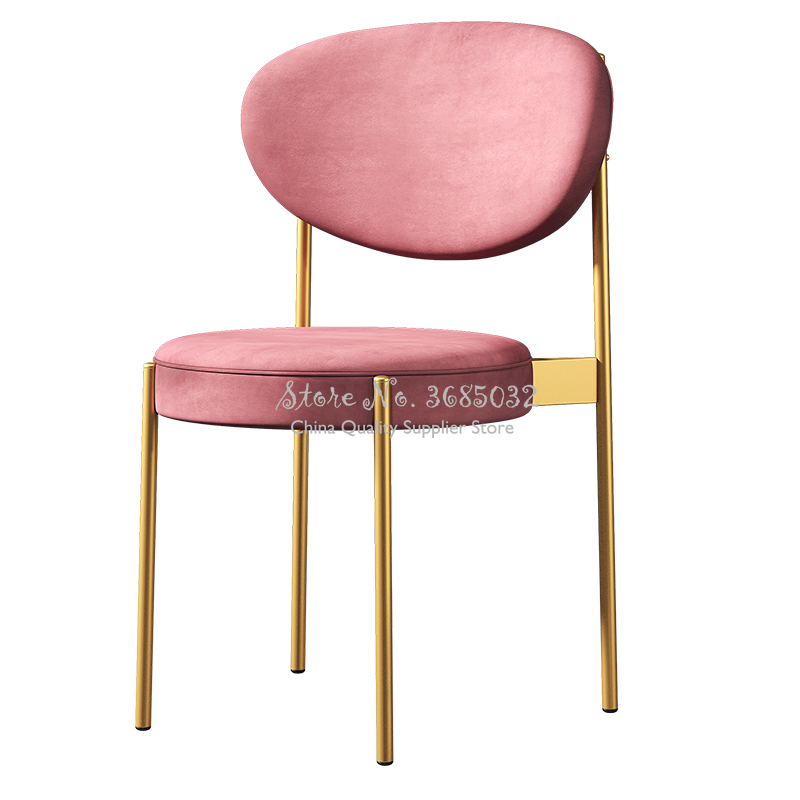 Nordic Pink Golden Chair With Velvet Cushion Restaurant Lounge Dressing Chair For Nail Shop  Livingroom Chairs Salon Furniture
