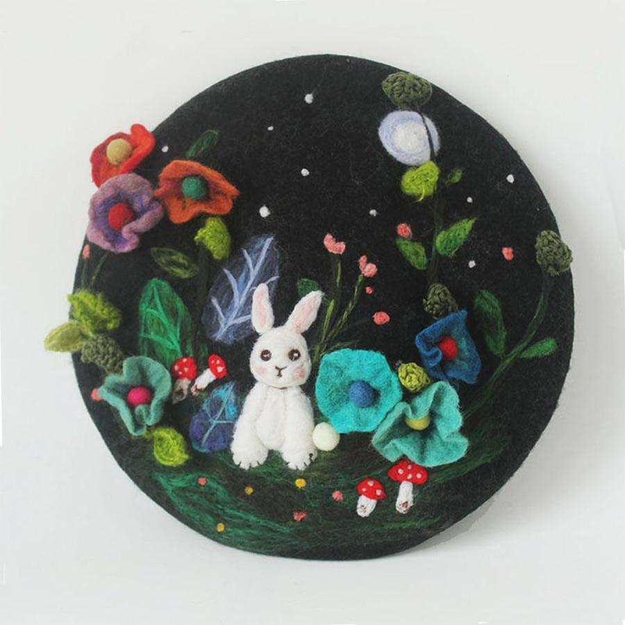 Mysterious Jungle Wool Beret Cap Ladies Hand Embroidered Korean Winter Warm Berets Hat Women Cute Rabbit Christmas New Year Hats