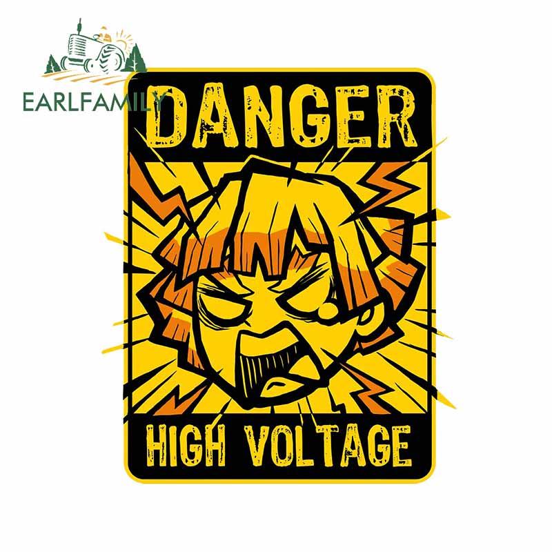 EARLFAMILY 13 см x 9,7 см для убийцы демонов графика Zenitsu высоковольтные наклейки автомобильные виниловые наклейки на стену предупреждающие аниме н...