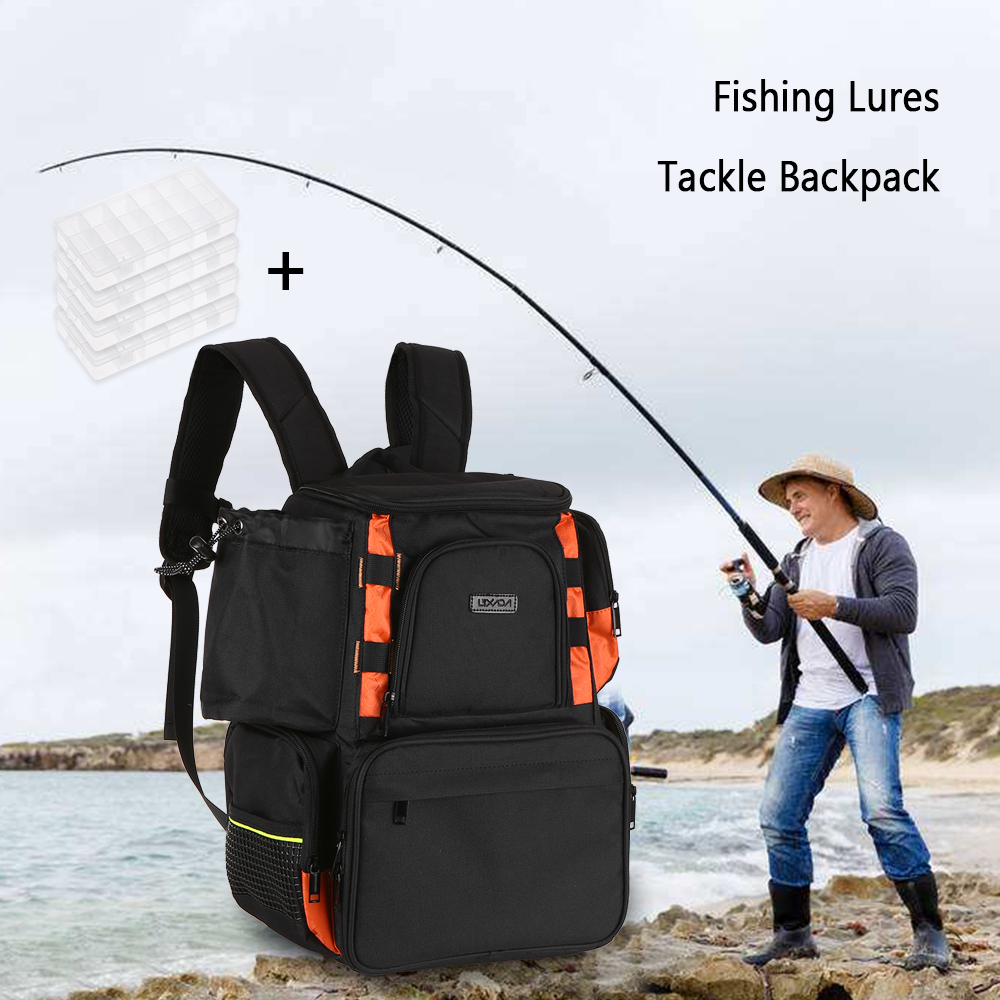 Lixada Fishing Tackle Bag Multifunctional Backpack Fishing Lures Bait Box Storage Bag With 4 Carp Fishing Tackle Boxes Pesca