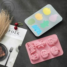 Halloween Siliconen Cake Vorm Mold Decorating Bakken Party Decor Voedsel DIY Siliconen Cakevorm 6 Gat Ghost Festival Bakvorm(China)