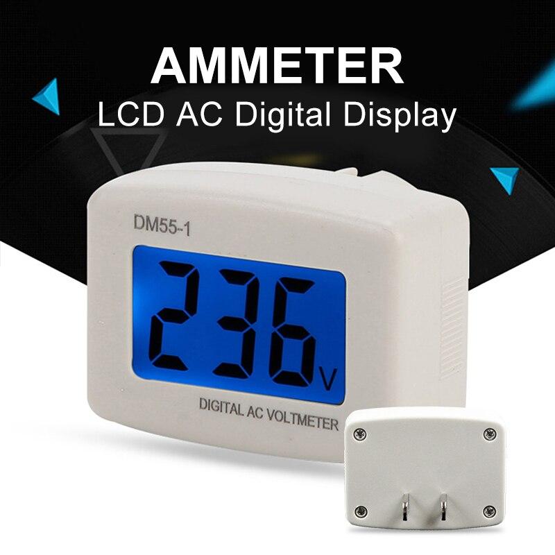 Digital Plug In Voltage Meter DM55-1 110-220V EU/US Plug Voltage Tester Wall Flat Voltage Measuring Digital AC Voltmeter